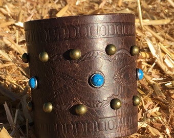 OOAK Upcycled Stamped & Studded Leather Belt Cuff