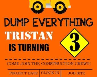 Dump Truck Birthday Inivitations