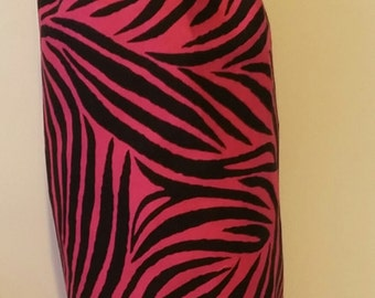 Pink zebra print plastic grocery bag holder