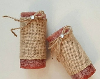 Rustic Shabby-Chic French Country Decorative Candles Distressed Burlap Twine Set of 2 Decor Gift