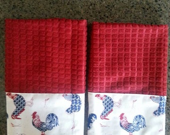 New Handmade Set of Two Microfiber Red Patriotic Rooster Kitchen, Dish, Hand, Tea Towels