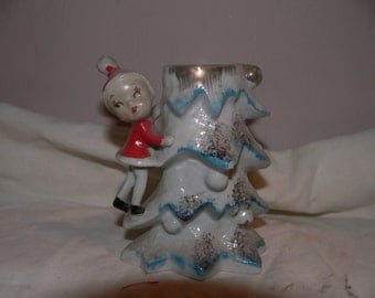 Christmas Elf and Tree Ceramic Figurine