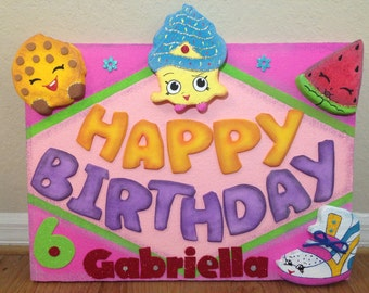 Shopkins Poster Happy Birthday customized. Shopkins parties supplies. Party decorations and supplies