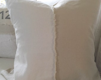 Pillow Cover, Half and Half, White Linen, Natural Linen, Frayed