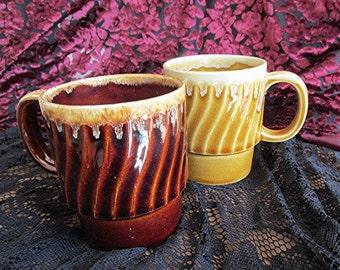 Coffee mugs 70s vintage stacking brown yellow ceramic retro pair coffee mugs cups.