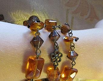 Bead bracelet goth bracelet steampunk bracelet Amber faceted crystal bead bracelet vintage 90s Victorian.