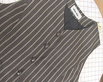 Ladies pinstripe waistcoat tailored vest brown beige US size 6 androgynous Annie Hall Spin Off brand vintage 80s.