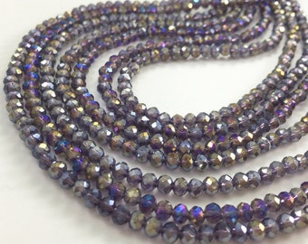 1Full Strand Crystal Rondelle Beads, 4*3mm Faceted Crystal  Glass Beads For Jewelry Making