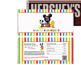 PRINTED or Digital Mickey Mouse Birthday Candy Wrappers, Clubhouse Mickey Mouse Party Favors, Mickey Mouse Chocolate Wrappers