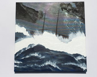 Boat in angry waves