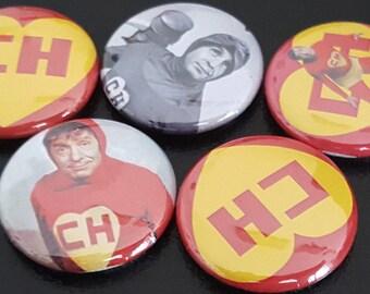 "5 El Chapulin Colorado 1"" Buttons/Pinbacks/Badges Chespirito No Faltaron Super Hero Comedy Latino Mexican Television Classic"