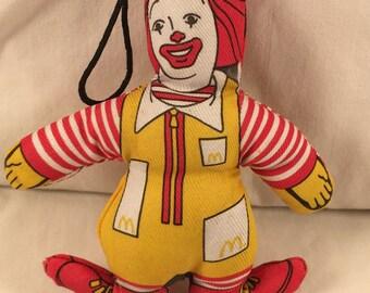 Vintage 1981 Stuffed Ronald McDonald Christmas Ornament