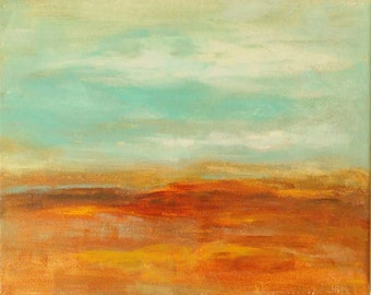 Small abstract landscape original painting on canvas