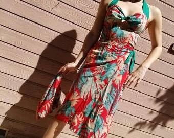 Repo 1940s Hawaiian halter sarong dress with bolero