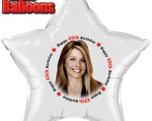 Happy BIRTHDAY Party Supplies PHOTO BALLOONS Ages Choose From 40th - 49th birthday Custom Printed fast shipping Party supplies