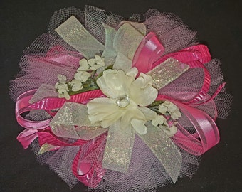 Bright Pink/White/Light Pink Corsage and Boutonniere