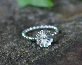 Silver Wildflower Ring - beaded ring band - Sterling Silver