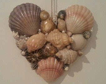 Seashell Heart wall hanging, wall decor, wall art