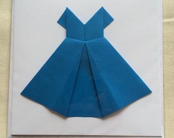 Origami dress greetings card (blank inside)
