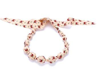 Girls Beaded Cloth Necklace - Owlie - Orange Sorbet