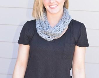 Soft Gray Crocheted Cowl