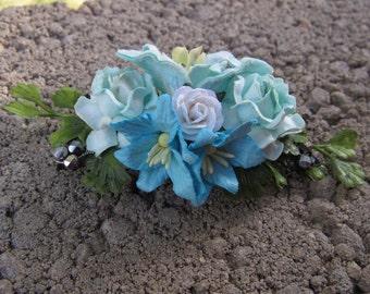 Aqua Turquoise Blue Floral French Barrette Hair Clip Accessory - Aqua Floral French Barrette, Blue Flower Hair Clip, Flower Hair Clip