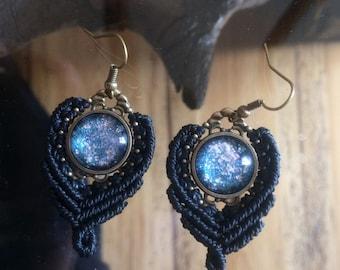 macramé earrings blue violet galaxy ~ macrame earrings blue violet galaxy