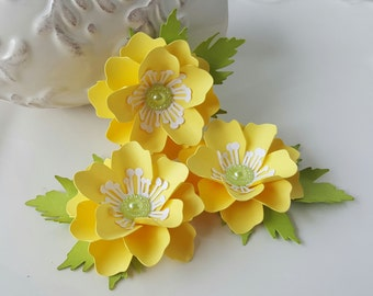 Handmade Paper Flower Embellishments - Yellow - Scrapbook - Card Making - Tag Decor - Party Supply - Bridal Supply - Birthday Supply
