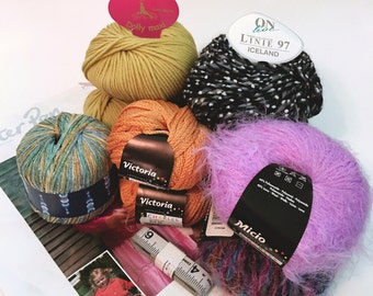 Yarn Goodie Bag: S. Charles, ONline, Laines du Nord yarns, Double Knitting Pattern, Measuring Tape | Various yarns