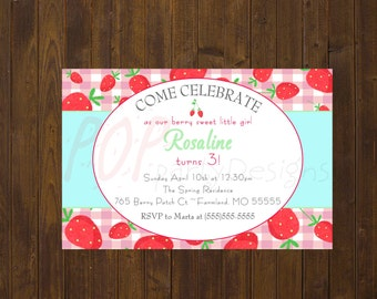Strawberry Birthday Invitation, Personalized Strawberry Birthday, Printable, Digital File