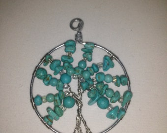 Faux turquoise tree of life wall decor