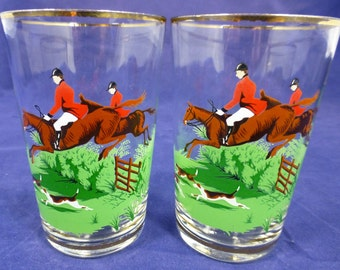 Two Vintage Drinking Glasses with Colourful Hunting Scene