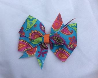Paisley Print Pinwheel Hairbow