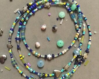 Chunky blue waist beads
