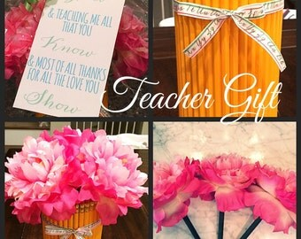 Pencil Vase with Flower Pens/ Teacher Appreciation Gift/ End of the Year Gift for Teacher
