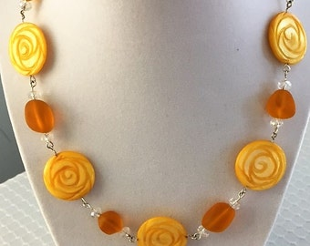 Sunny yellow disk necklace