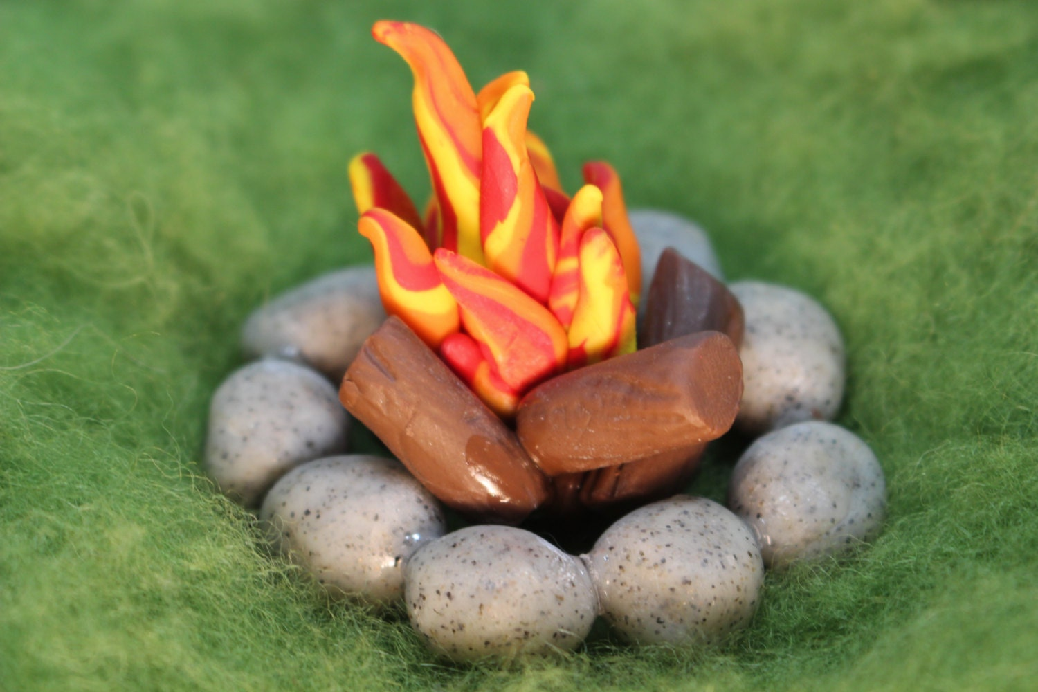 Fire Made Of Clay : Miniature fairy garden fire pitpolymer clay