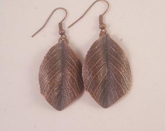 Simple Copper Leaf Earrings