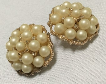 Gold tone, faux pearl and rhinestone clip on earrings