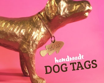 Fish Dog ID Tag. Copper or Brass