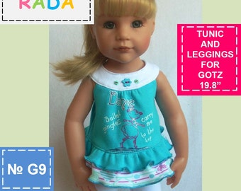 Tunic and Leggings pattern 2in1 for 18 inch dolls (for Gotz or similar measurements doll)