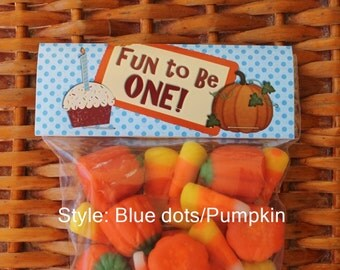 Fall First Birthday | Pumpkin Birthday | Autumn Treat Bag Toppers | Fall Birthday Party Favors - Qty 12