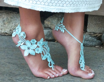 Pale Mint Barefoot Lace Sandals, TIFFANY, Bridal Wedding Party, Festie Feet, Fairy Photoshoot Prop, Woodland Creature, Fun Marriage Details