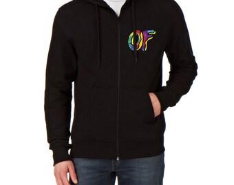 Odd Future White Funny tie dye logo zip up black hoodie