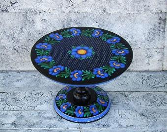 Black Cake Stand, Wedding Cake Stand, Wooden Cake Stand, Hand made, Author's work, Flowers