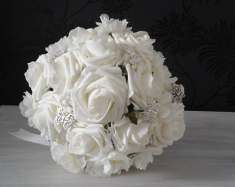 ivory bouquet ivory roses wedding  bouquet rose bouquet brides bouquet bridesmaid bouquet wedding flowers brooch bouquet brides posy