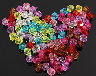 Glass Crystal Beads - 100Pcs 4mm - Bicone Loose Beads - DIY - Jewelry Accessories - Craft Supply - Beading - Jewelery making - Free Shipping