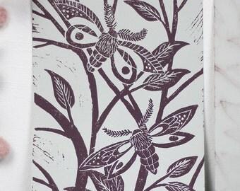 Nature Linocut Print mauve on grey