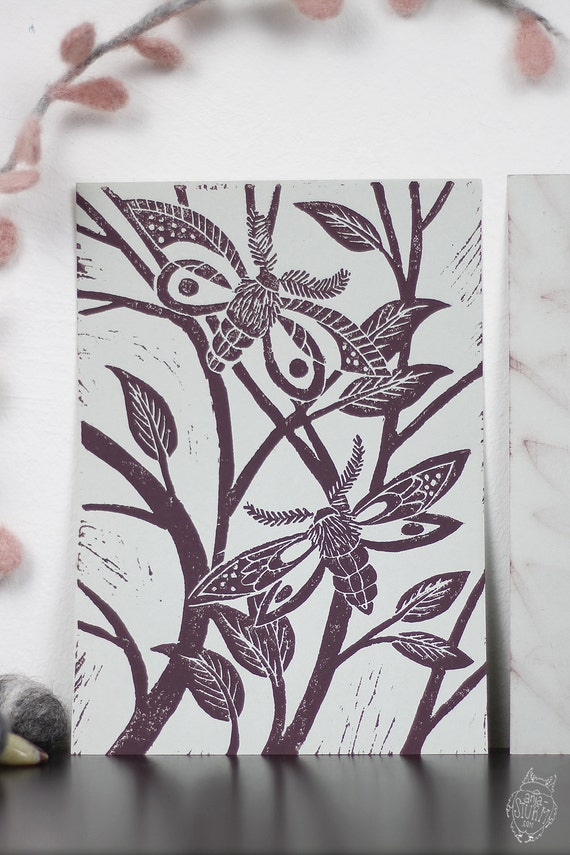 Nature Linocut Print mauve on grey by AnjaSturmPrints on Etsy