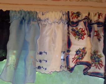 Blue Vintage Handkerchief Valance #1